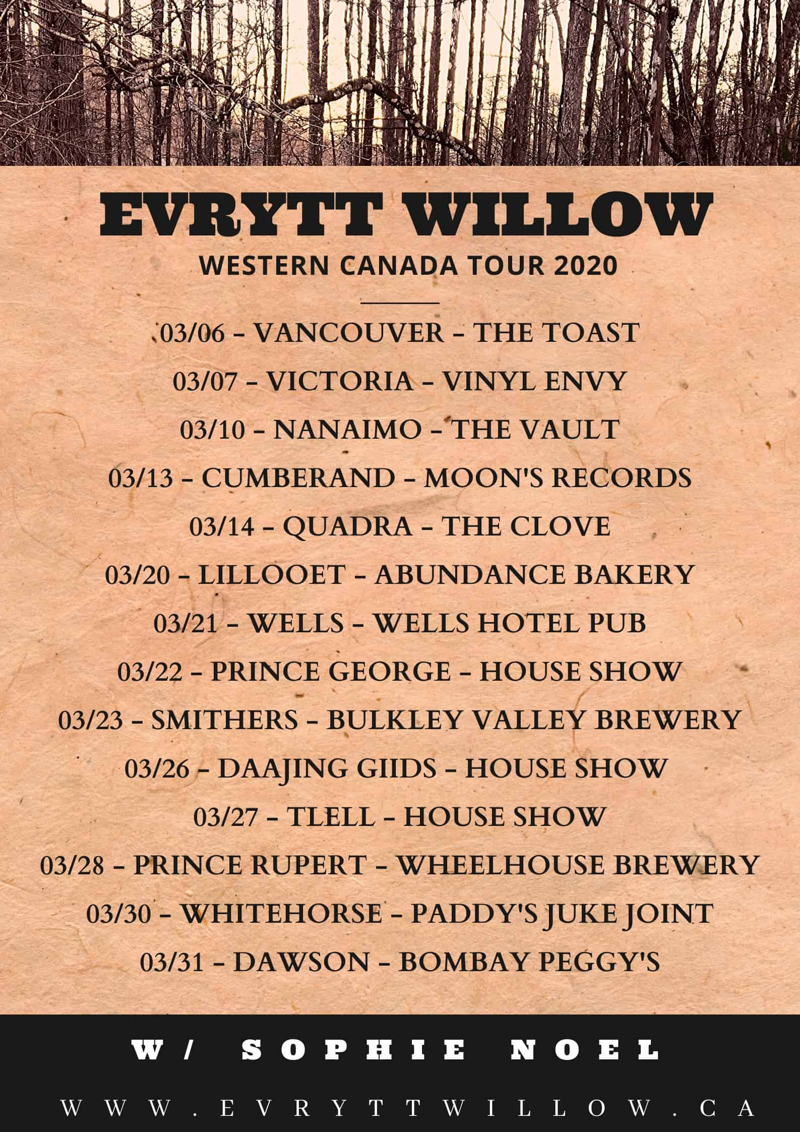Evrytt Willow Western Canada Tour